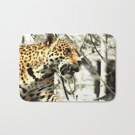 tree branch african safari animal leopard Bath Mat
