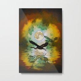 Heron Moon Fantasy Artwork Metal Print