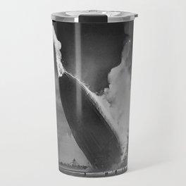 1937 New Jersey Crash of the Zeppelin LZ 129 Hindenburg black and white photography Travel Mug