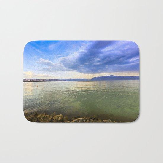 Blue Sunset over the Lake Bath Mat