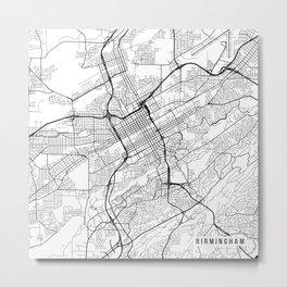 Birmingham Map, USA - Black and White Metal Print