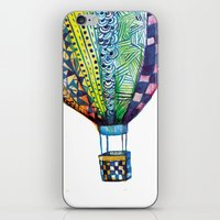 hot air balloon iPhone & iPod Skins featuring Hot Air Balloon by Emily Stalley