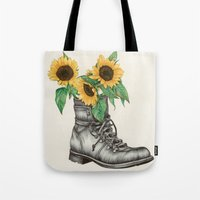 shoe Tote Bags featuring Shoe Bouquet I by The White Deer