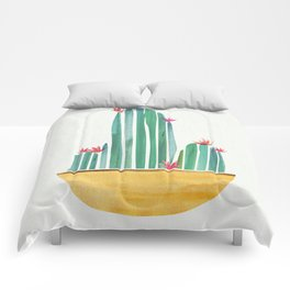 Tiny Cactus Blossoms Comforters