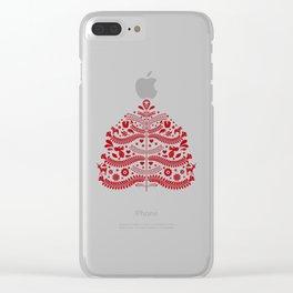 Red Scandinavian Folk Art Christmas Tree Clear iPhone Case