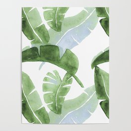 Tropical Leaves Green And Blue Poster