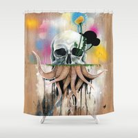 skull Shower Curtains featuring Skull Roots by FAMOUS WHEN DEAD