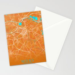 Mons, Belgium, Gold, Blue, City, Map Stationery Cards