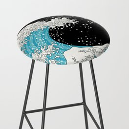 The Great Wave (night version) Bar Stool
