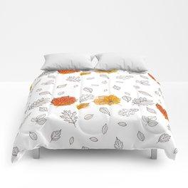 Fall orange gold hand drawn black white leaves Comforters