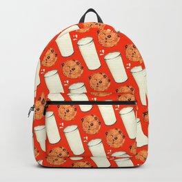 Milk & Cookies Pattern - Red Backpack