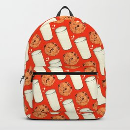 Milk & Cookies Pattern - Red Backpack