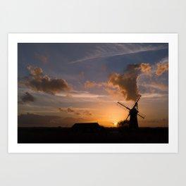 Sunset on the Norfolk Broads Art Print