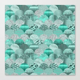 Green Turquoise Glamour Mermaid Scale Pattern Canvas Print