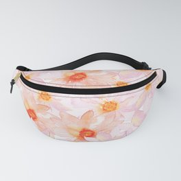 orange and pink watercolor dahlias Fanny Pack