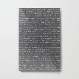 Gray Web Design Keywords Poster Concept Metal Print