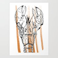 lobster Art Prints featuring Lobster by HBDesign