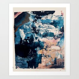 Sweetly: a bohemian, abstract work on paper in blue, pink, white, and gold Art Print