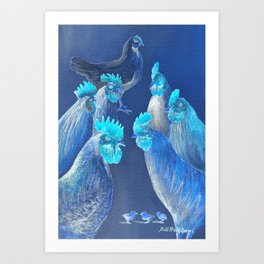 New Chick On The Block In Blue Art Print