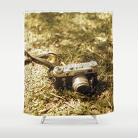 vintage camera Shower Curtains featuring camera by inesmarinho