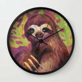 sloth and leafs Wall Clock