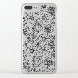 Doodle floral pattern Clear iPhone Case