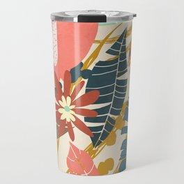 Tropical Flowers and Leaves Travel Mug