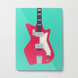 Retro 60s Surf Rock Electric Guitar - Mint Metal Print