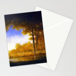 Autumn in the French Countryside, Fontainebleauu Forest landscape painting by Gilbert Munger Stationery Cards