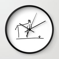 donkey Wall Clocks featuring donkey by Lineamentum
