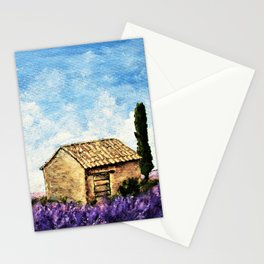 Lavender Farm by Mike Kraus - provence france french europe house home beautiful flowers sky clouds Stationery Cards