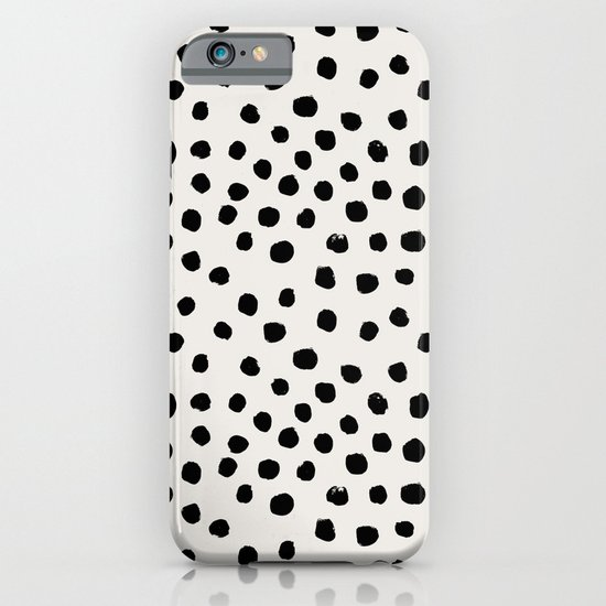 Preppy brushstroke free polka dots black and white spots dots dalmation animal spots design minimal iPhone & iPod Case