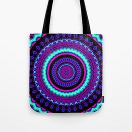 turquoise purple Mandala Tote Bag