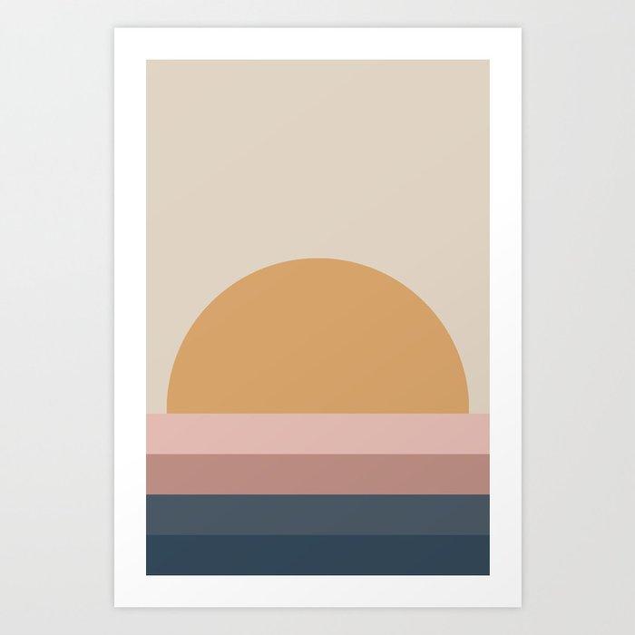 Minimal Retro Sunset - Neutral Kunstdrucke