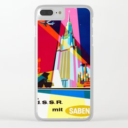 USSR - 1960s Vintage Travel Poster Clear iPhone Case