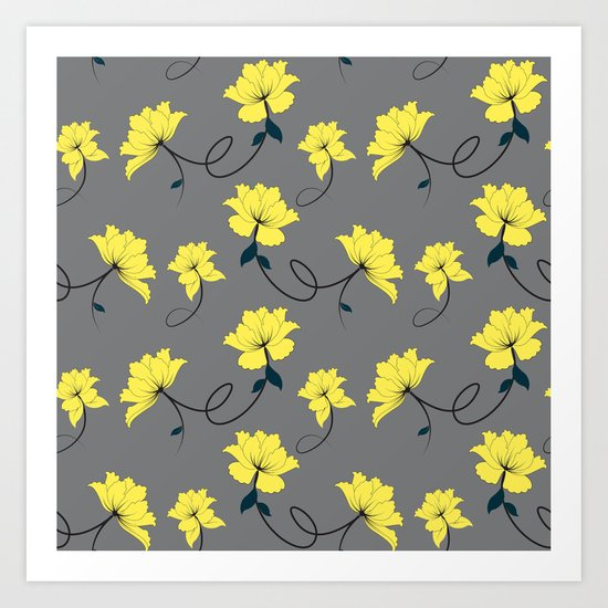 Yellow Flowers on Gray/Grey background, floral pattern Art Print