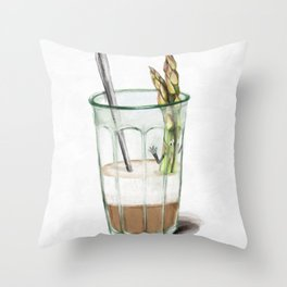 La Cuisine Fusion - Aspargus Latte Throw Pillow