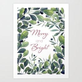 Merry and Bright Botanical Watercolor Christmas Decor Art Print