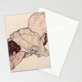 Egon Schiele - Kneeling Girl, Resting on Both Elbows Stationery Cards