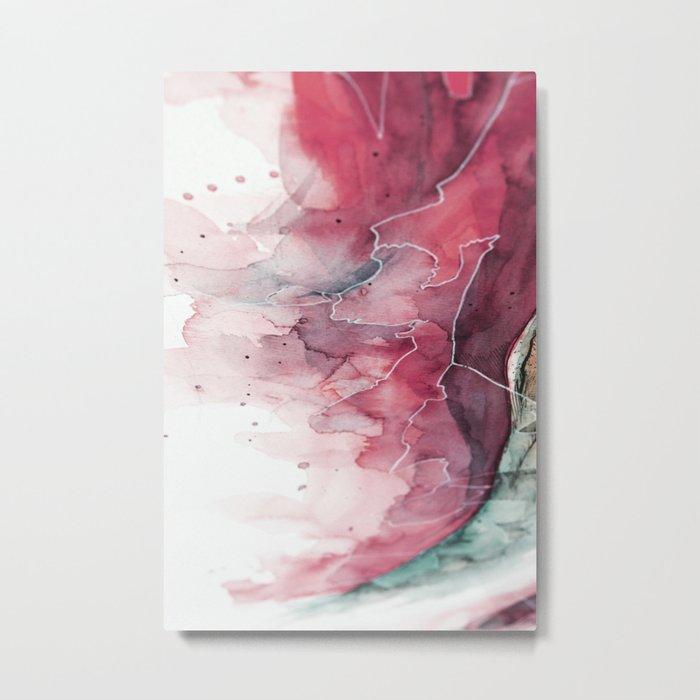Watercolor pink & green, abstract texture Metal Print