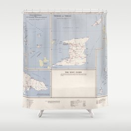 Vintage Map of The West Indies (1958) Shower Curtain