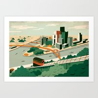 steelers Art Prints featuring Pittsburgh, Pennsylvania by Sam Brewster