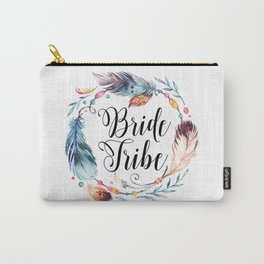 Bride Tribe Boho Feathers Carry-All Pouch