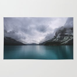 Landscape Photography Maligne Lake Mountain View | Turquoise Water | Alberta Canada Rug