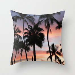 Tropical Palm Trees Sunset in Mexico Throw Pillow