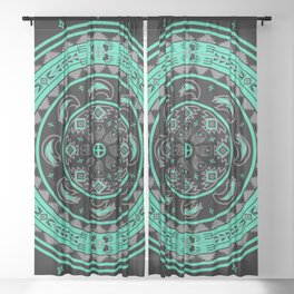 Bear Spirit (Aqua) Sheer Curtain