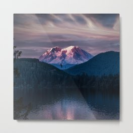 Sunset Mt. Rainier, Mineral, Washington Metal Print
