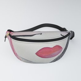 Shy Girl. Abstract Pink Girl. Pink Lips. Pink Hair. Jodilynpaintings. Eyelashes. Gift for All Girls. Fanny Pack