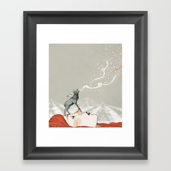 Deer Lady! Framed Art Print
