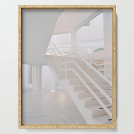 White staircase in a modern house Serving Tray